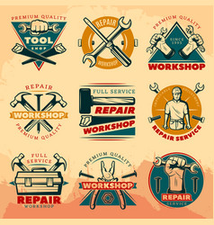 Vintage repair workshop color logo set vector