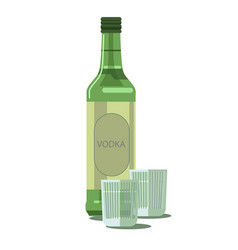 vodka bottle and glasses isolated alcohol vector image vector image