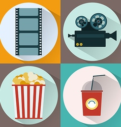 Watching movie icon set vector