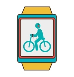 Yellow square watch with cartoon human working out vector