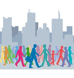 Crowd of people colors walk city vector image