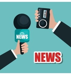 Hands hold microphone and tape record news graphic vector