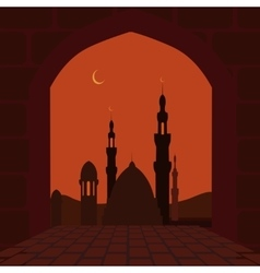 The muslim holiday of ramadan postcard in the vector