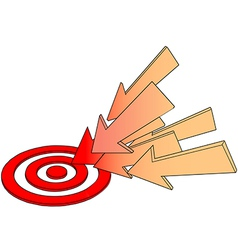 Arrows point at hot target drawing vector image