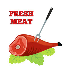 fresh meat label pork ham with barbecue fork vector image