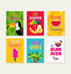 Summer season card quote set for beach vacation vector