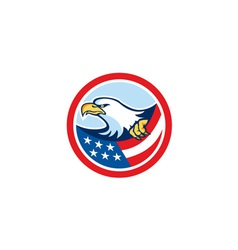 American bald eagle clutching flag circle retro vector
