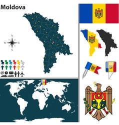 Moldova map world vector