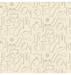 Golf sport items linear seamless texture driver vector