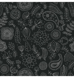 Seamless doodle flowers black and white pattern vector image