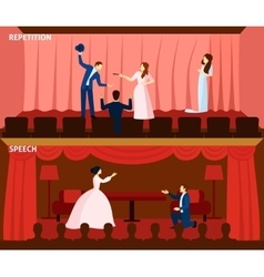 Theater performance 2 flat banners composition vector
