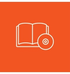 Audiobook and cd disc line icon vector