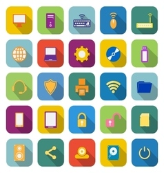 Computer color icons with long shadow vector