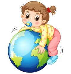 Girl todler hugging the earth vector