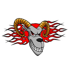 angry goat with fire flames for tattoo design vector image