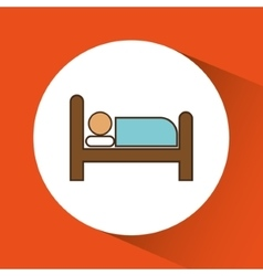 Bed and room of hotel service design vector