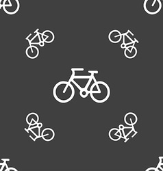 Bicycle icon sign Seamless pattern on a gray vector image
