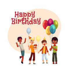 Black and caucasian boys kids with balloons vector