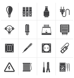 Black electrical devices and equipment icons vector