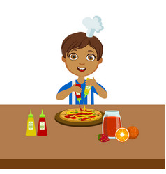 Boy making pizza cute kid in chief toque hat vector