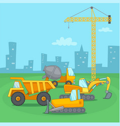 Building process concept vehicle cartoon style vector