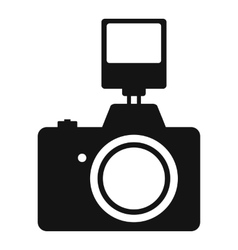 Camera with flash simple icon vector