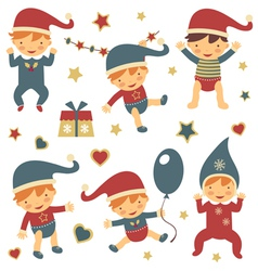 Christmas babies set vector image
