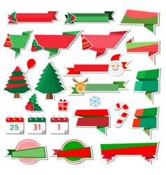 christmas stickers icons with paper ribbon on vector image