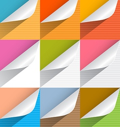 Colorful Paper Bent Corners Set vector image vector image