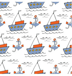 colorful seamless sea pattern with boatsand vector image vector image
