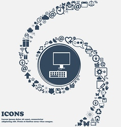 Computer monitor and keyboard icon in the center vector