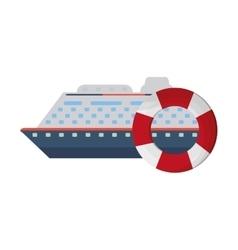 Cruise ship and life preserver icon vector