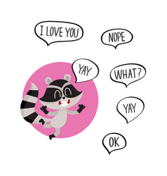 cute happy raccoon character with word yay in vector image vector image