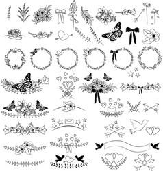 doodles floral frames borders hand drawn vector image