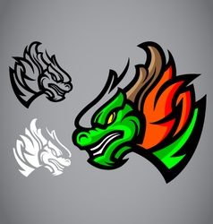 dragon green head emblem logo vector image
