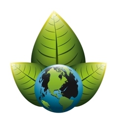 Earth world map with leaves on top vector