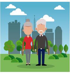 Elderly couple park city background vector