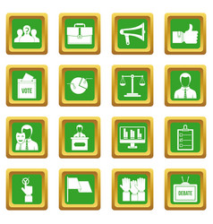 Election voting icons set green vector
