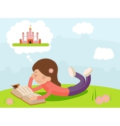 Girl young happy smiling reading book lying on vector image