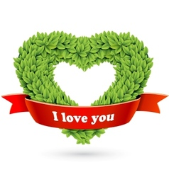 Heart of leaves with red ribbon and text vector image
