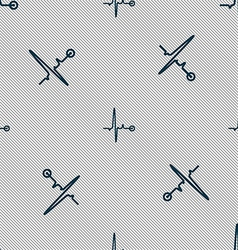 Heartbeat sign Seamless pattern with geometric vector image