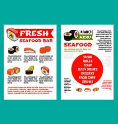 japanese seafood restaurant sushi bar menu design vector image