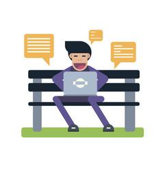 Man send text message vector