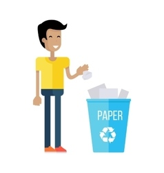 Man throw the paper into blue recycle garbage bin vector