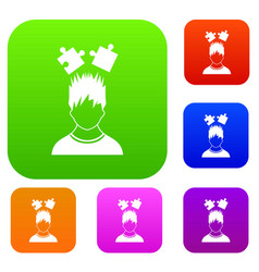 Man with puzzles over head set collection vector