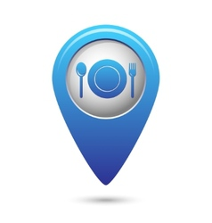 Map pointer with fork and spoon icon vector image vector image