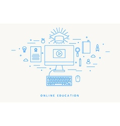 ONLINE EDUCATION THIN FLAT DESIGN vector image