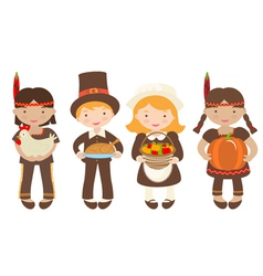 Thanksgiving kids sharing food vector