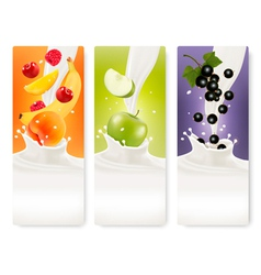 Three fruit and milk banners vector image vector image