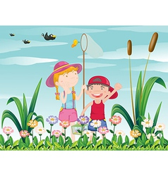 Two kids catching the butterflies vector image vector image